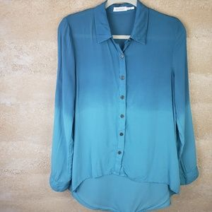 Blu Pepper Dip dyed button front  Shirt Sz M